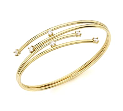 Carissima Gold Women's 9 ct Yellow Gold Double Tube Crossover Cubic Zirconia Detail Bangle JmbCYPdE