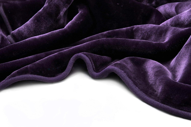 Vivalon Solid Color Ultra Silky Soft Heavy Duty Quality Korean Mink Reversible Blanket 9 lbs King Purple