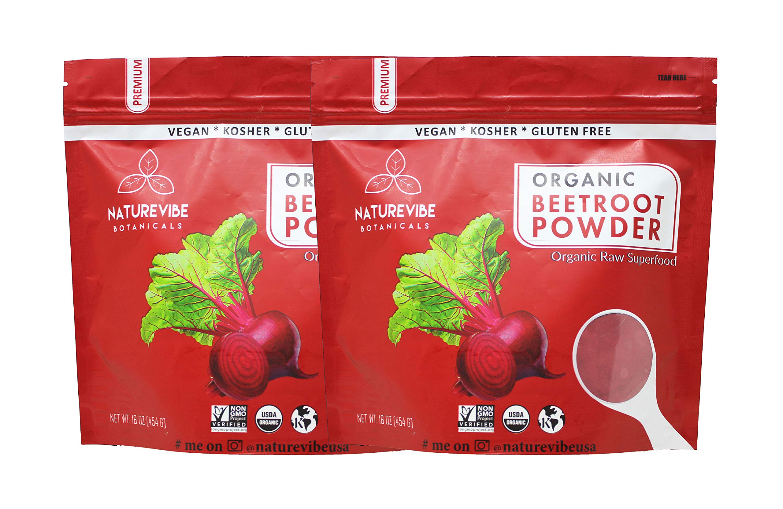 Organic Beet Root Powder (2 lbs), Raw & Non-GMO (2 Pack of 1 Pound Each) | Nitric Oxide Booster | Boost Stamina and Increases Energy by Naturevibe Botanicals
