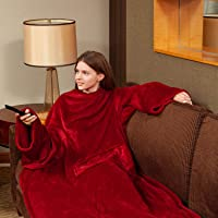 Fleece Wearable Blanket with Sleeves and Foot Pocket for Adult Women Men, Plush Throw with Adjustable Hook & Loop