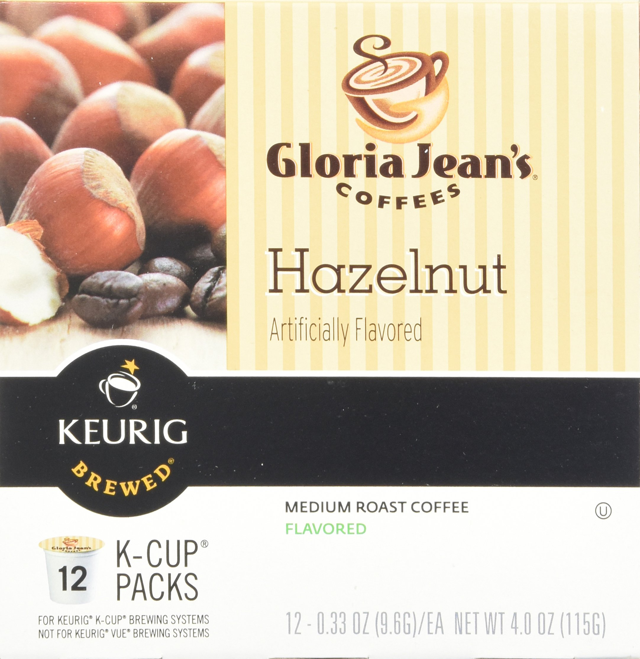 Green Mountain Coffee Roasters Gourmet Single Cup Coffee Hazelnut Gloria Jean's Coffee 12 K-Cups by Green Mountain Coffee Roasters (Image #3)