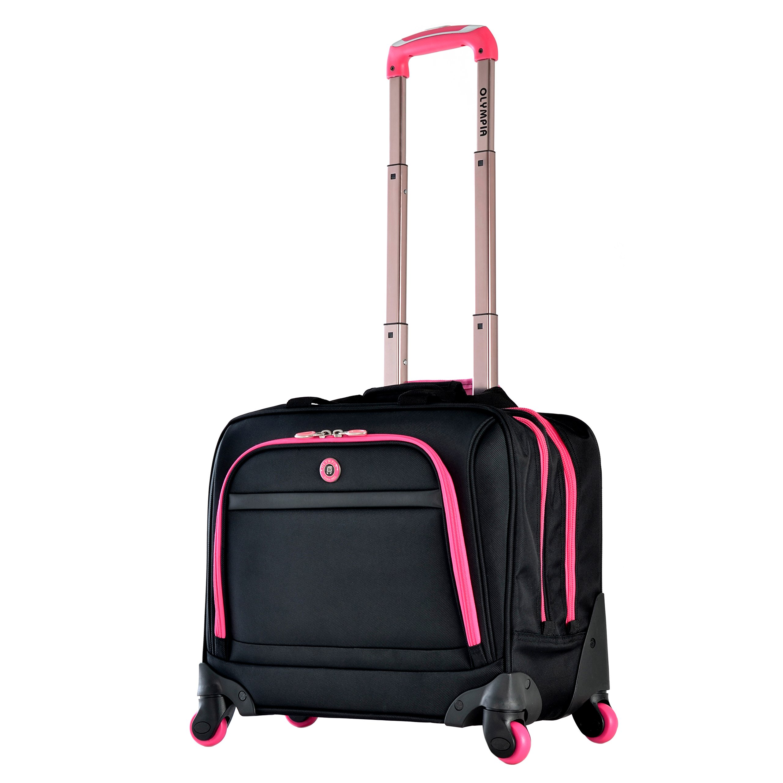 Olympia Business Rolling Tote, Black/Pink