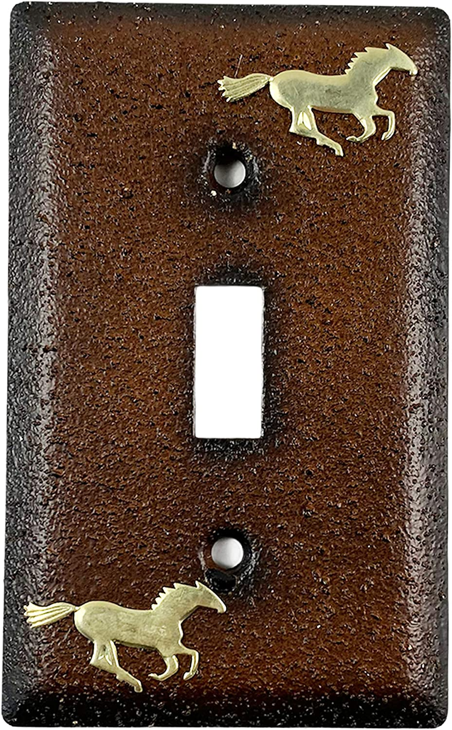 Urbalabs Western Cowboy Horse Rustic Metal Textured Rust Decorative Light Switch Outlet Wall Plate Covers Country Home Rustic Light Switch Covers Single Double 2 Gang Switch Plates (Single Switch)