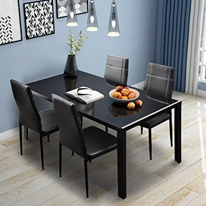 Merax 5 Piece Dining Set Glass Top Metal Table 4 Person Table And Chairs (