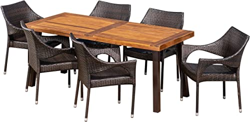 Christopher Knight Home Jerome Outdoor 7-Piece Acacia Wood/Wicker Dining Set |