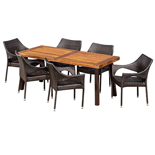 Christopher Knight Home Jerome Outdoor 7-Piece Acacia Wood Wicker Dining Set with Teak Finish in Multibrown, Rustic Metal