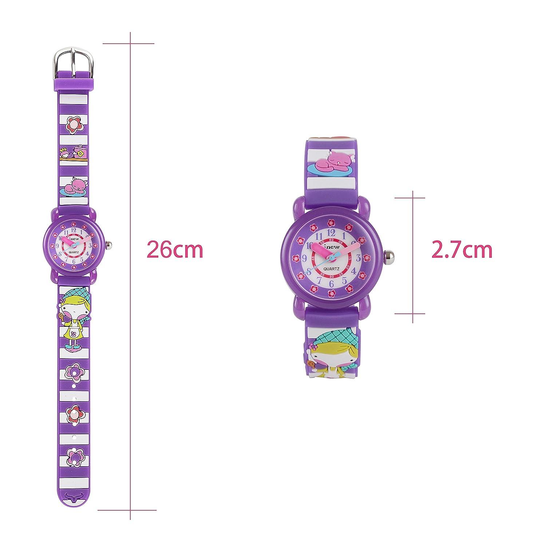 Neihou Colegio Niña reloj analógico de cuarzo con esfera redonda de segunda mano Lindo 3D Gatitos en banda reloj encantador de niñas pequeñas Púrpura ...