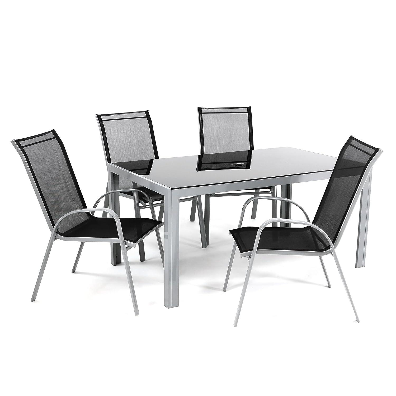 5tlg Alu Sitzgruppe Gartengarnitur Gartenset mit Glastisch mit ...