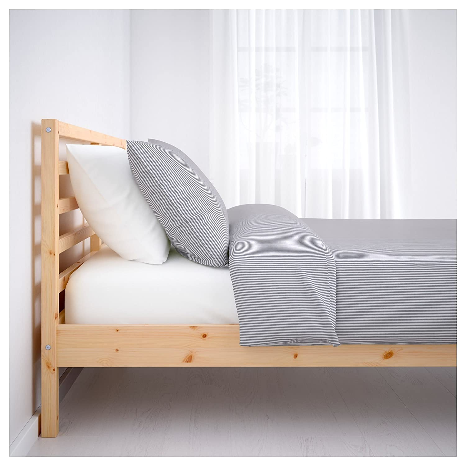 Amazon.com - Ikea Full Bed Frame Solid Wood with Headboard -