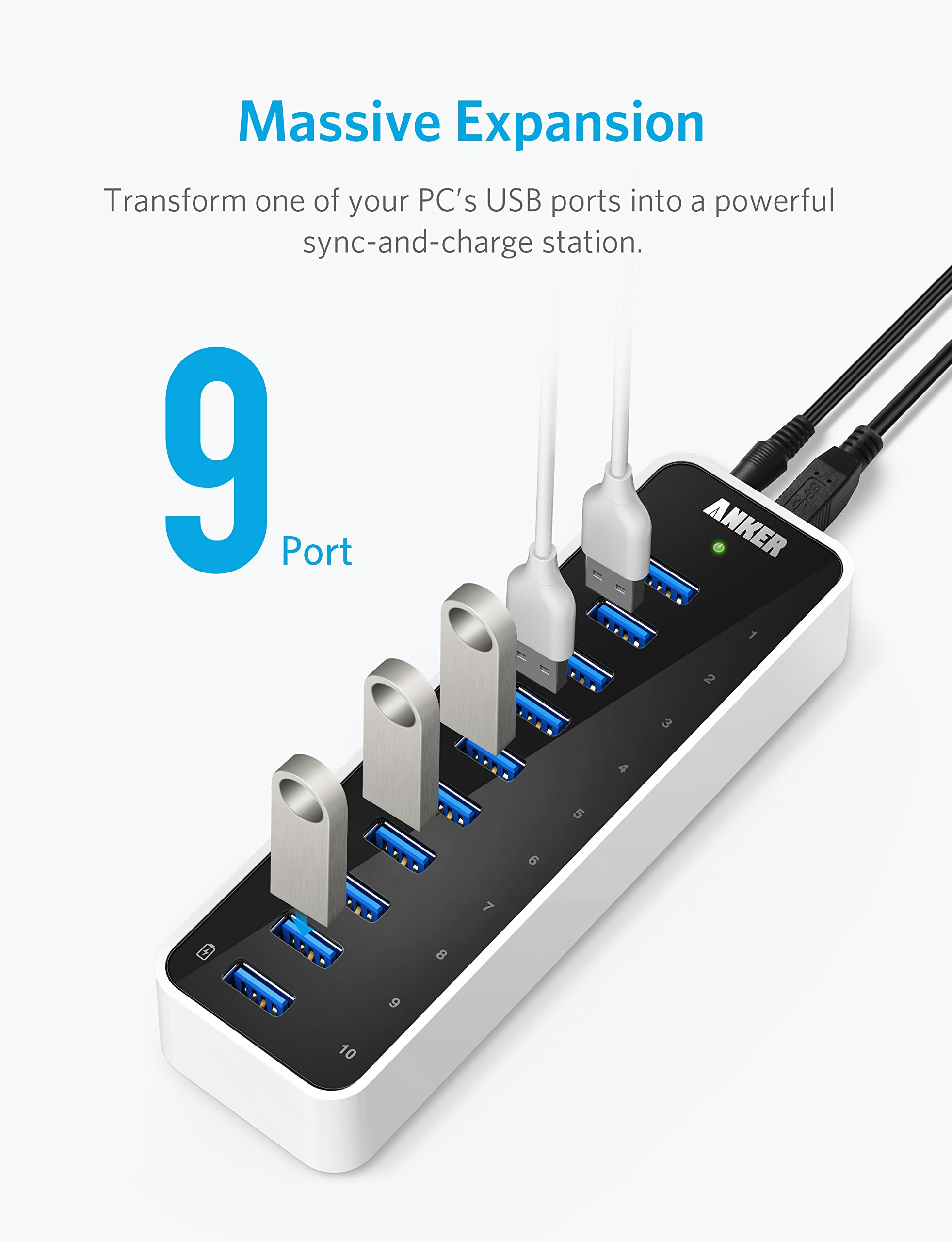 Anker USB 3.0 9-Port Hub + 5V 2.1A Smart Charging Port with 12V 5A Power Adapter by Anker (Image #6)