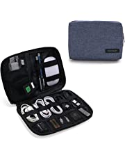 BAGSMART Portable Travel USB Cable Organizer Bag Cases for Small Electronics and Accessories, Blue
