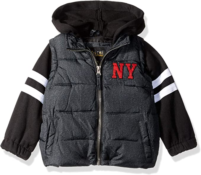 iXtreme Boys' Puffer Vest with Hood and Sleeves