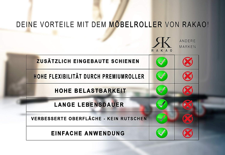 M/öbelheber Stabile Transporthilfe Umzugshilfe Waschmaschine RK RAKAO Luxus M/öbelroller Belastbarkeit 150kg F/ÜR ALLE 4 Transportroller verst/ärkte Rollen f/ür M/öbel sichere M/öbel Roller