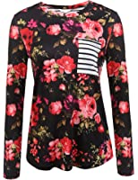 1ace425cbe40fc Unibelle Women's Floral Print Back Striped Tee Crew Neck Shirt Long Sleeve  Tops With Pocket S