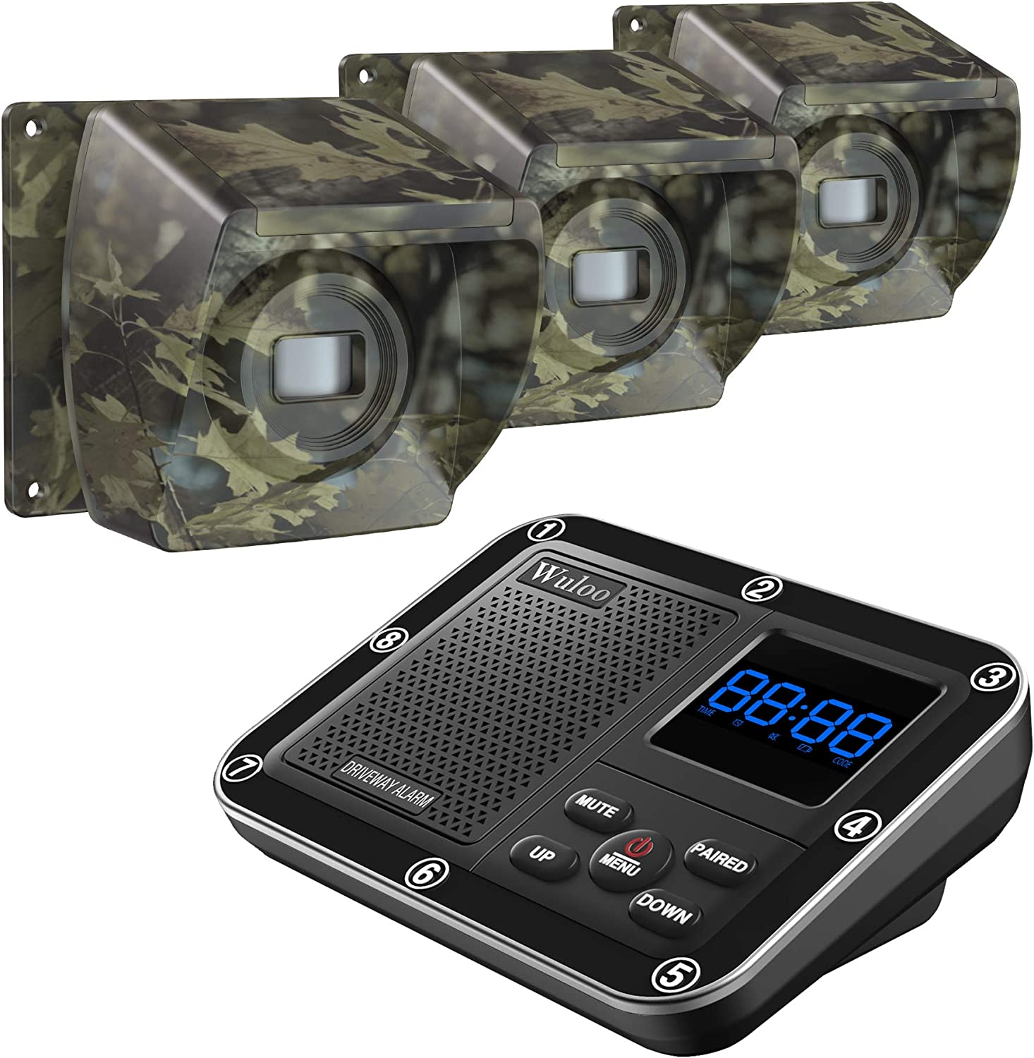 1800 Ft Wireless Outside Driveway Alarm Outdoor Motion Sensor & Detector Driveway Alert System, Rechargeable Battery/Weatherproof/Mute Mode/Clock and Alarm Functional (1&3-Camouflage)
