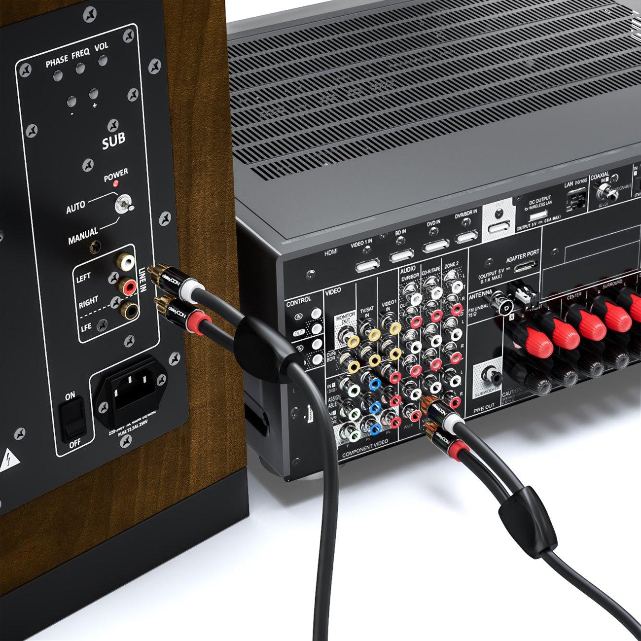 Negro deleyCON 1m Cable RCA Audio est/éreo RCA Cinch 2x RCA Enchufe a 2x Enchufe RCA