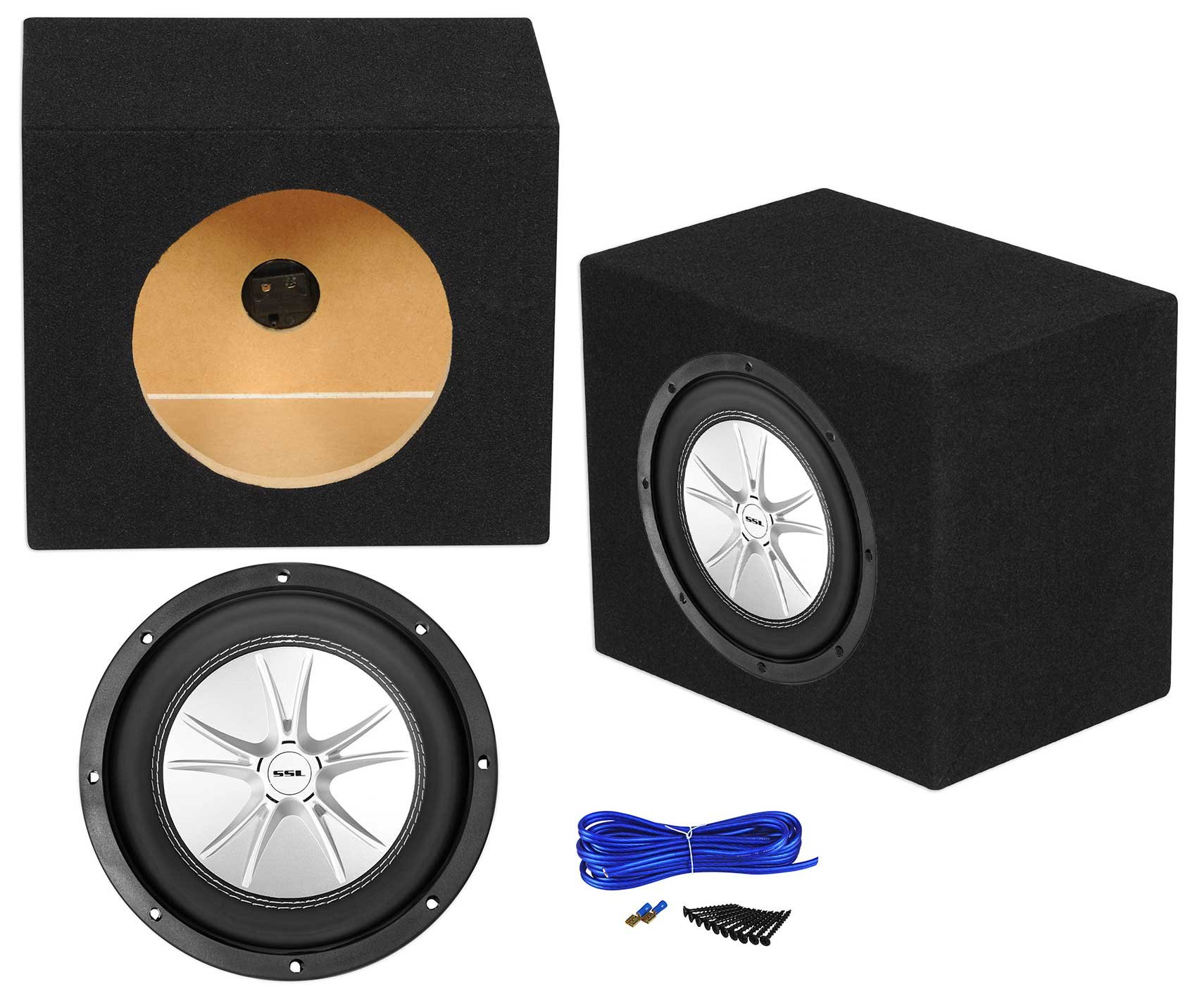 Sound Storm SLR8DVC 1000w 8'' 4-Ohm DVC Car Subwoofer+Sealed Sub Box Enclosure
