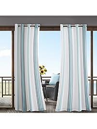 Nu0026T 1 Piece Blue Cabana Stripes Gazebo Curtain Panel 84 Inch, White Coastal  Print Outdoor