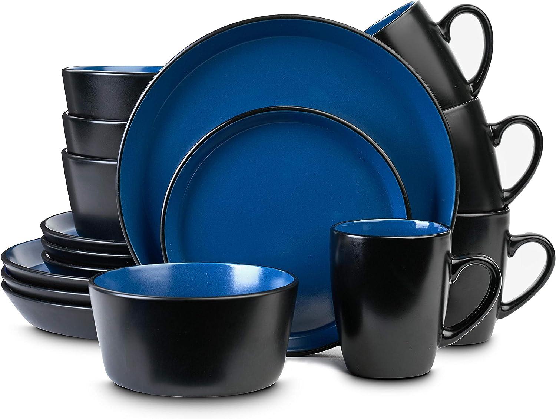 Stone Lain Stoneware Dinnerware Set, Service For 7, Blue and Black