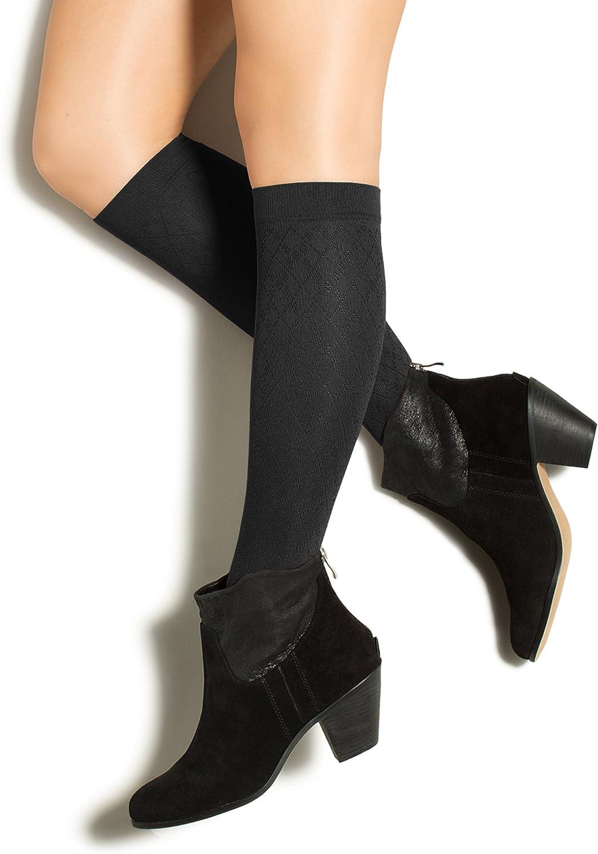 10-15mmHg Compression Dress Socks Black, Small Therafirm LIGHT Womens Diamond Trouser Socks