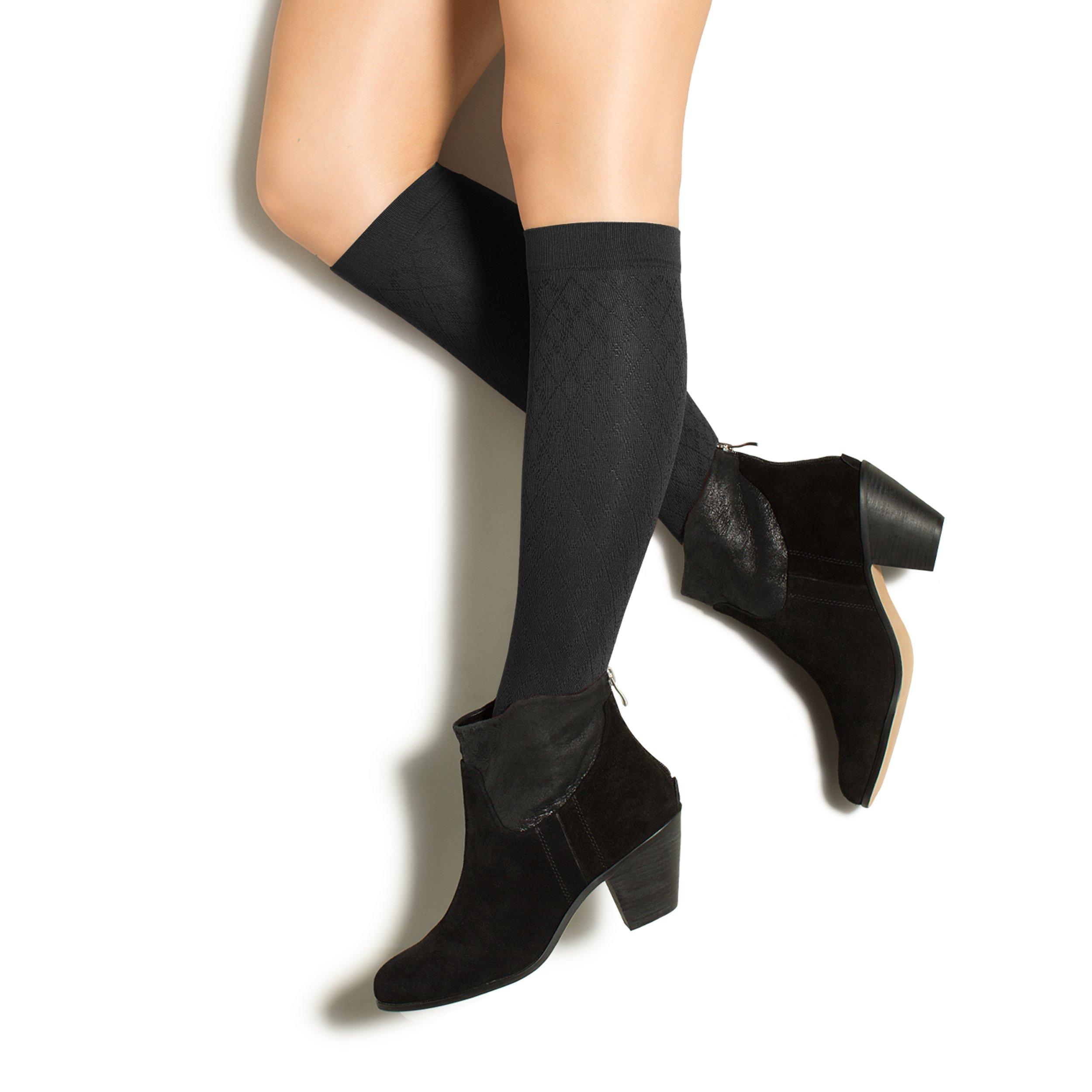 Therafirm LIGHT Women's Diamond Trouser Socks - 10-15mmHg Compression Dress Socks (Black, Small) by Therafirm (Image #1)