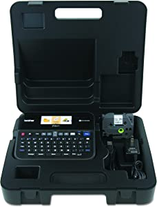 Brother P-touch, PTD600VP, PC-Connectable Label Maker with Full Color Graphical Display, Case, Split-Back Tapes, 14 Fonts, High-Resolution, Black