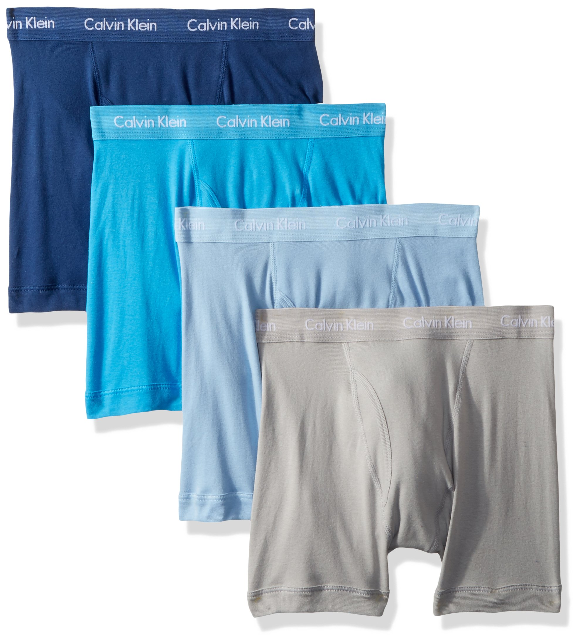 Calvin Klein Men's Cotton Classics Multipack Boxer Briefs, Gaze/Rapid Blue/Symphony/Clear Water, Medium by Calvin Klein