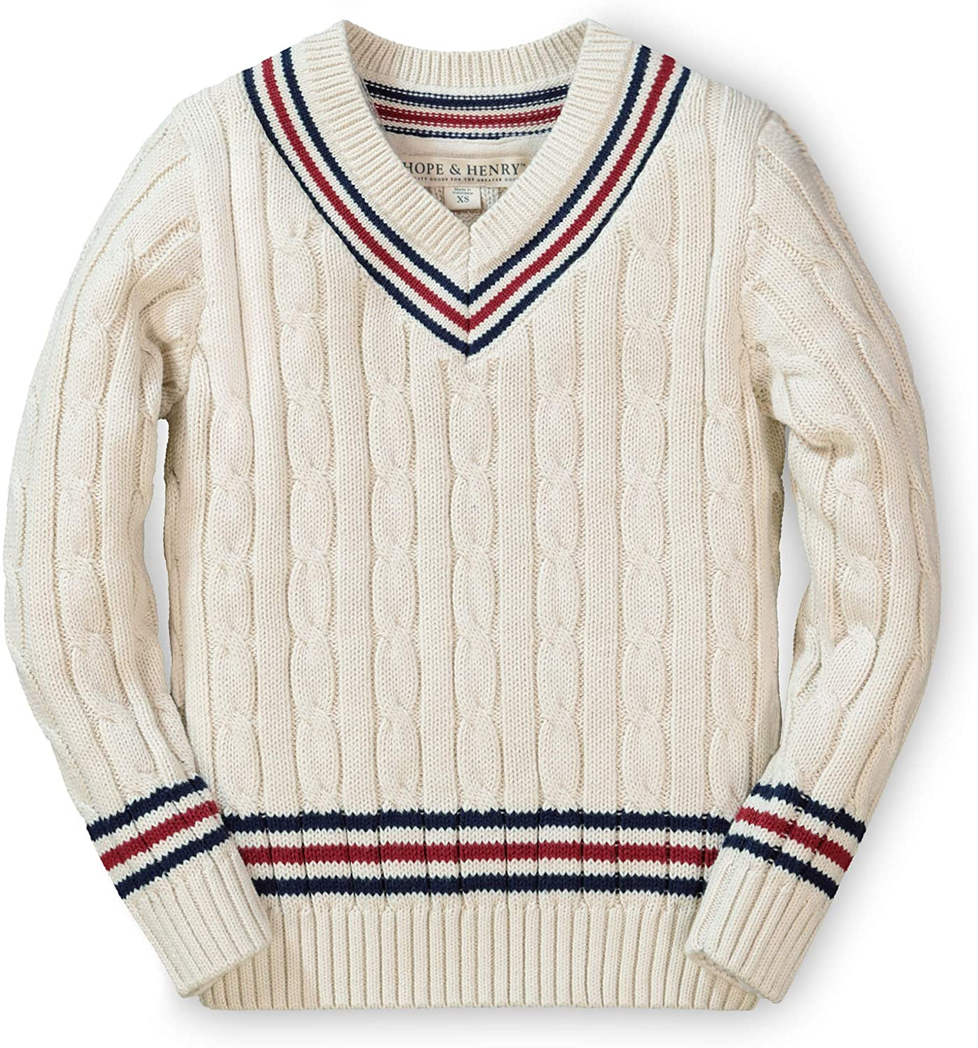 1920s Children Fashions: Girls, Boys, Baby Costumes Hope & Henry Boys Long Sleeve V-Neck Cricket Sweater $25.95 AT vintagedancer.com