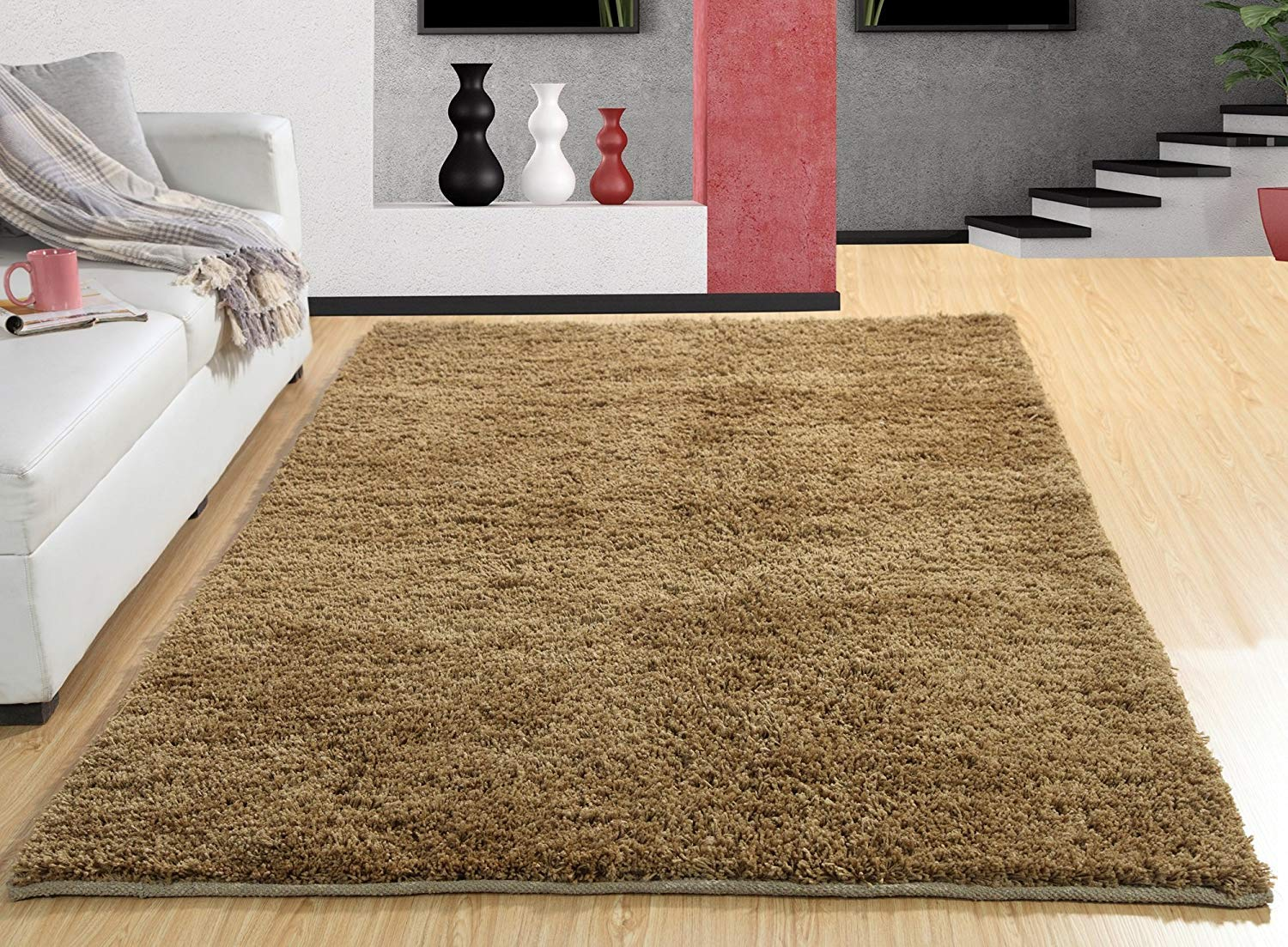 Maple Home Polypropylene Handwoven Shag Area Rug 3'X5' - Black
