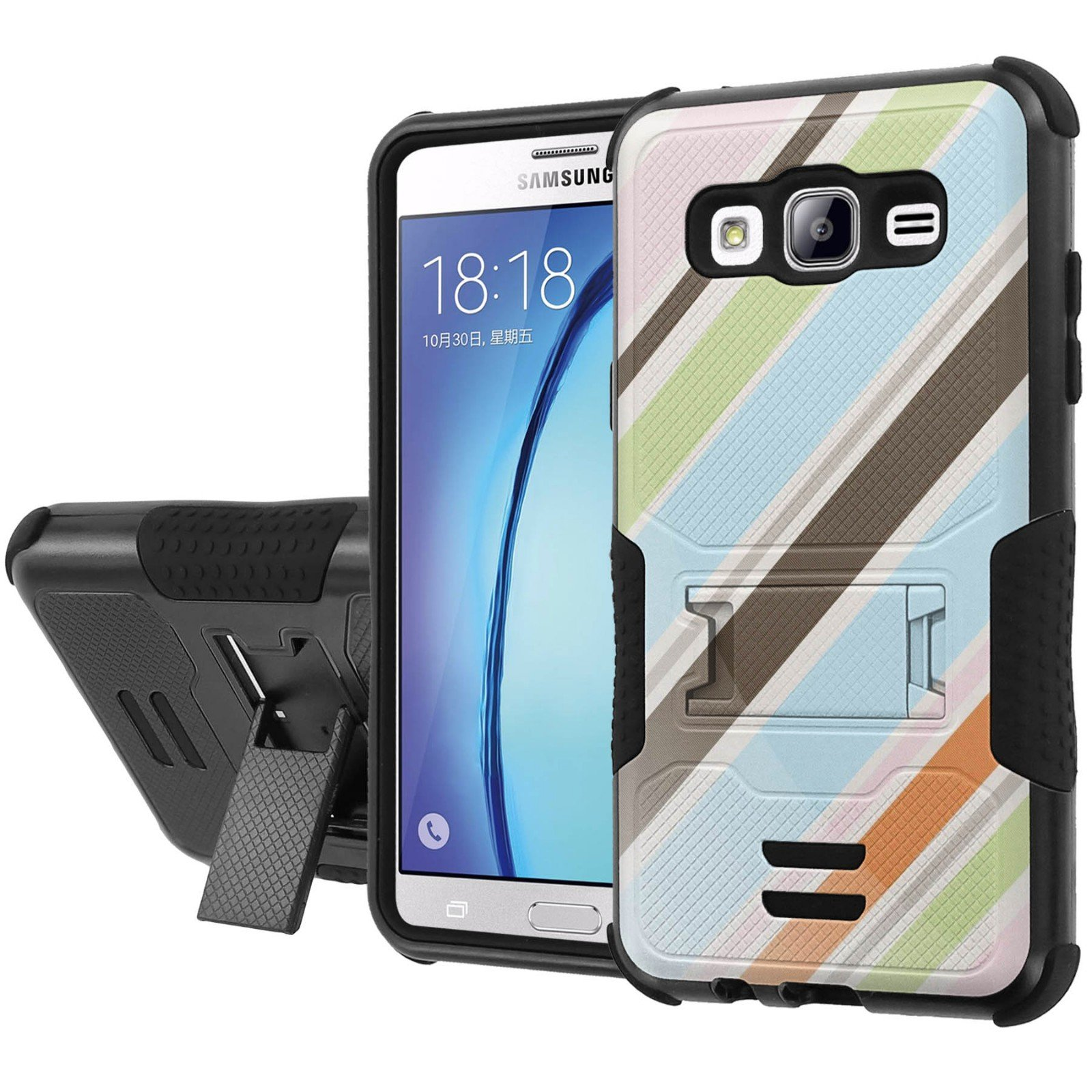 Galaxy [On5] Armor Case [NakedShield] [Black/Black] Urban Shockproof Defender [Kick Stand] - [Vertical Colors] for Samsung Galaxy [On5]