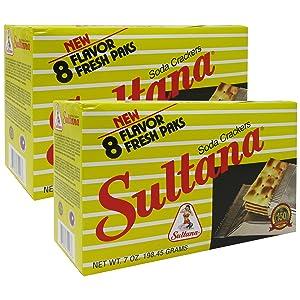 SULTANA - Puerto Rico's Famous Soda Crackers by Royal Borinquen - 7 oz Box (Count of 2)