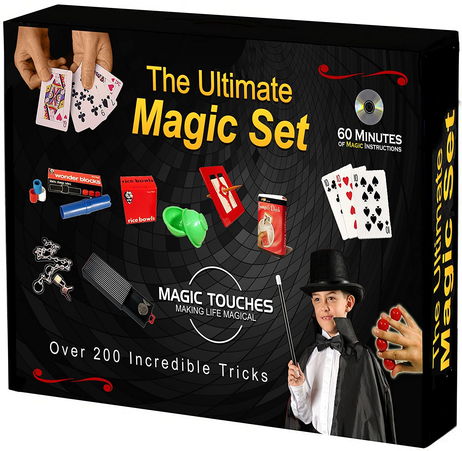 Magic Touches - Magic Tricks Set for Kids with Over 200 Tricks  Magic Kit  Includes DVD Tutorial Explaining The Classics in The Kit