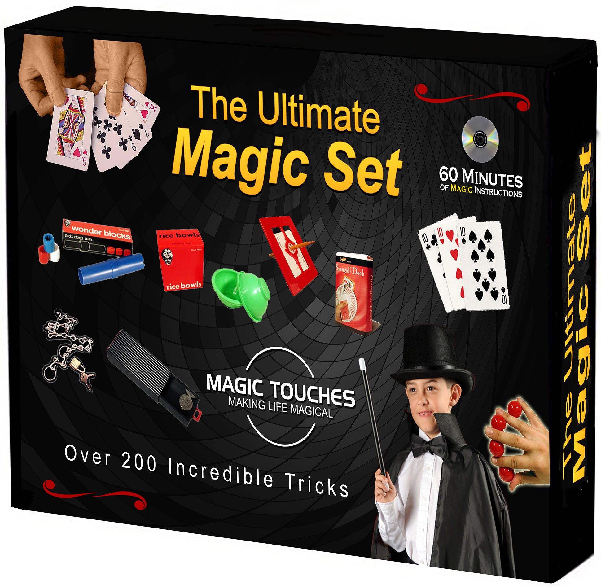 Magic Touches - Magic Tricks Set for Kids with Over 200 Tricks. Magic Kit Includes DVD Tutorial Explaining The Classics in The Kit by Magic Touches Making Life Magical