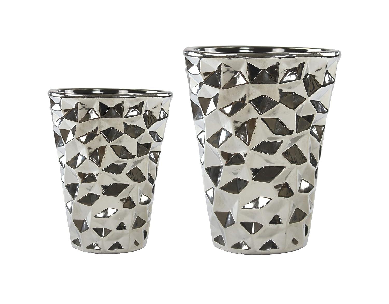 Pflanz-Gefäß Vase silber 1 Stück groß DECOLINE