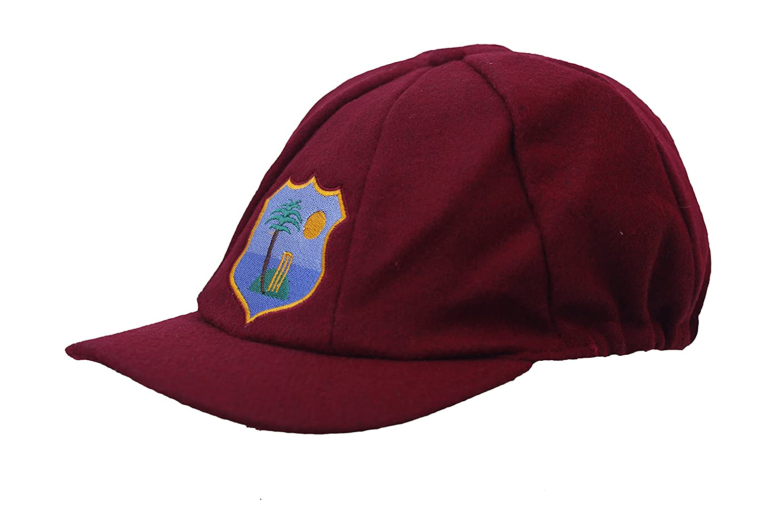 WEST INDIES TEST CRICKET CAP MELTON WOOL CLASSICAL TRADITIONAL 57-62CM ELASTICATED BACK ADAM SPORTS