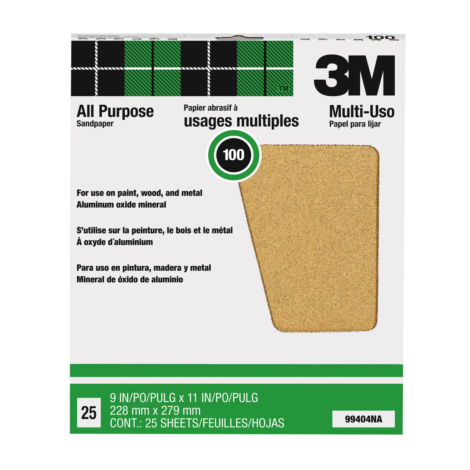 3M Pro-Pak 99404NA, Aluminum Oxide Sheets for Paint and Rust Removal, 9-Inch by 11-Inch, 100C