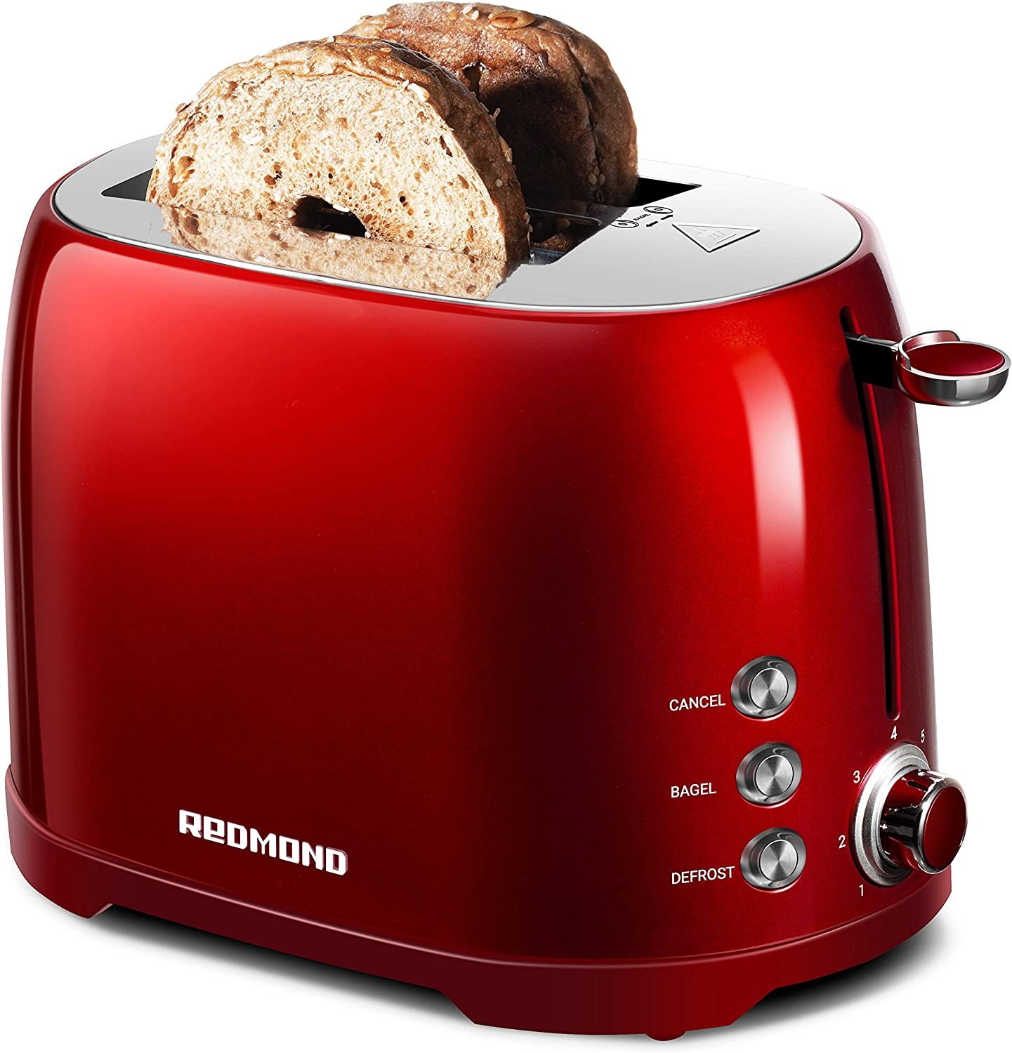 "REDMOND Retro Toaster 2 Slice Stainless Steel Compact Bagel Toaster with 1.5""Extra Wide Slots, 7 Bread Shade Settings, Removable Crumb Tray for Breakfast, 800W (Claret Red)"