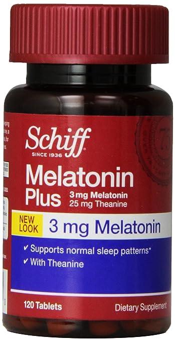 Schiff Melatonin Plus with Melatonin 3mg and Theanine 25mg Sleep Aid Supplement, 120 Count