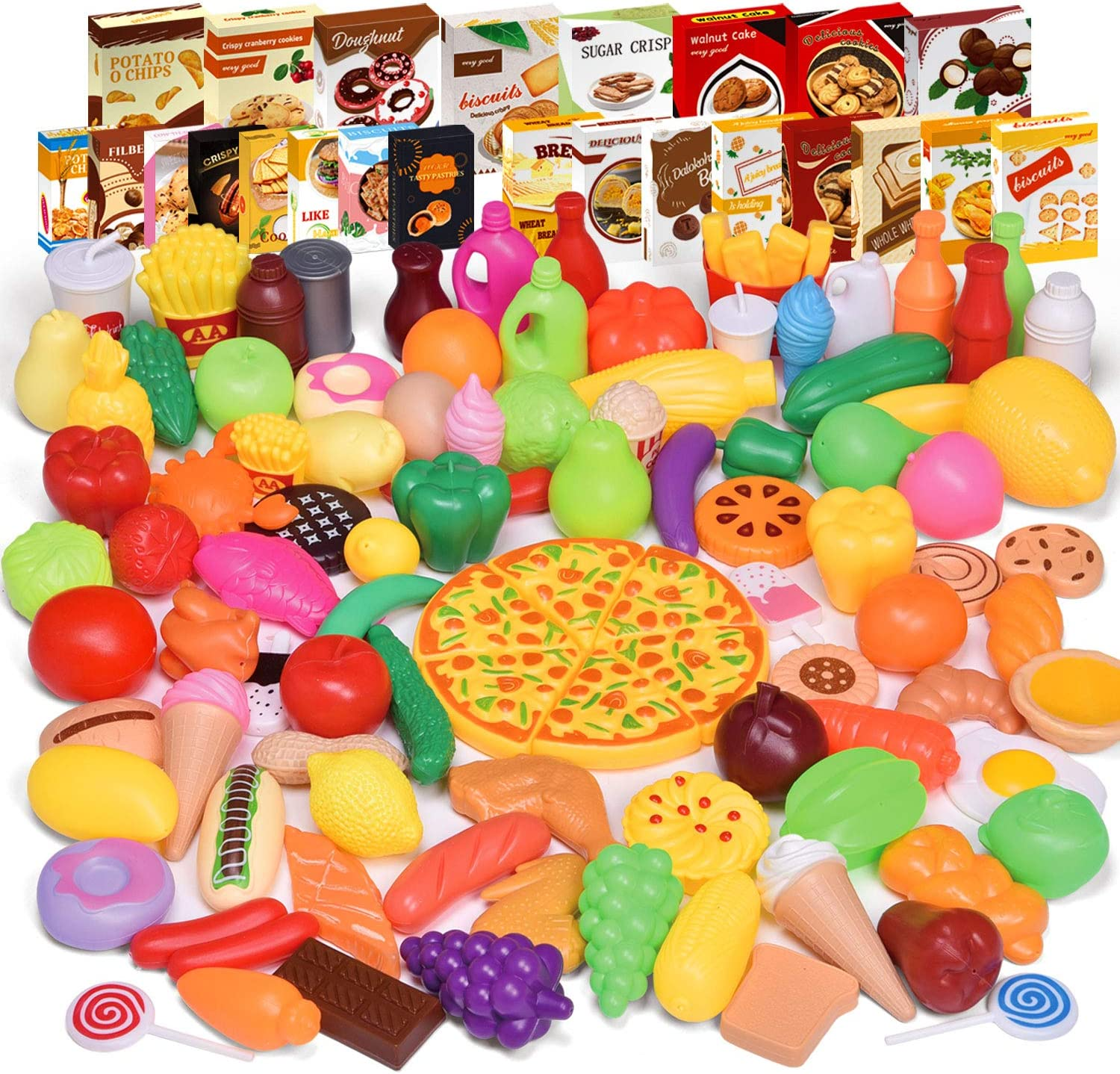 FUN LITTLE TOYS 128 PCs Play Food for Kids Kitchen, Toy Foods with Different Fruit, Cans and Cartons for Pretend Play, Play Kitchen Accessories