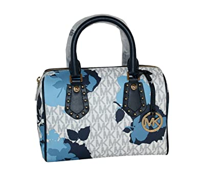 448662f467ef MICHAEL Michael Kors Women s ARIA Small Leather Satchel Studded Handbag  (Navy)  Handbags  Amazon.com