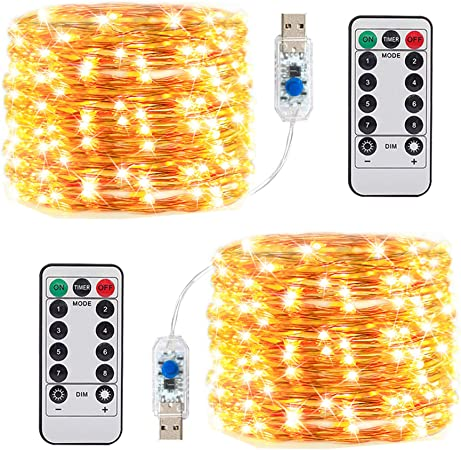 2 Pack Fairy Lights USB Plug In 33Ft 100 LED Warm White Waterproof Starry St...