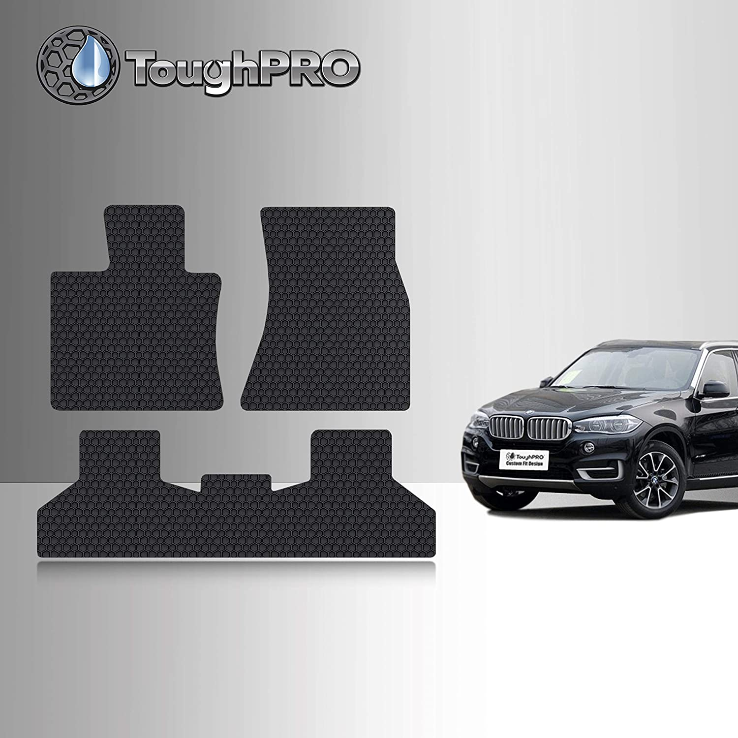 2017 2016 2014 Made in USA 2018 TOUGHPRO Floor Mat Accessories Set Compatible with BMW X5 All Weather Front Row + 2nd Row - Black Rubber 2015 Heavy Duty -