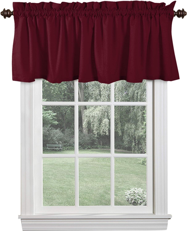 Softopia Cotton Set of 2 Valance Curtains for Windows 54x18 for Living Room Bedroom Kitchen Windows Bathroom, 100% Cotton Farmhouse Vintage Curtain Valances Rod Pocket - Burgundy