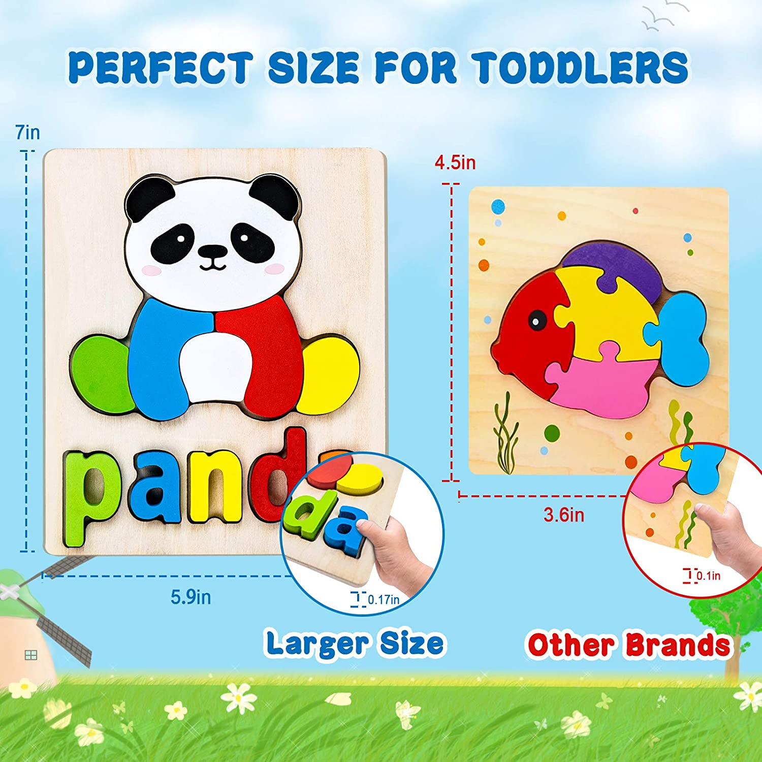 Wooden Jigsaw Peg Puzzles for Toddlers Kids 1 2 3 4 Years Old Montessori Educational Boys Girls Eco Friendly Child Gifts Travel with Animal Shape and Alphabet Spelling Puzzles Preschool Learning Toys