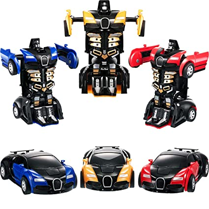 Amazon Com Tatuo 3 Pieces Robot Car Toy 2 In 1 Deformation Car For