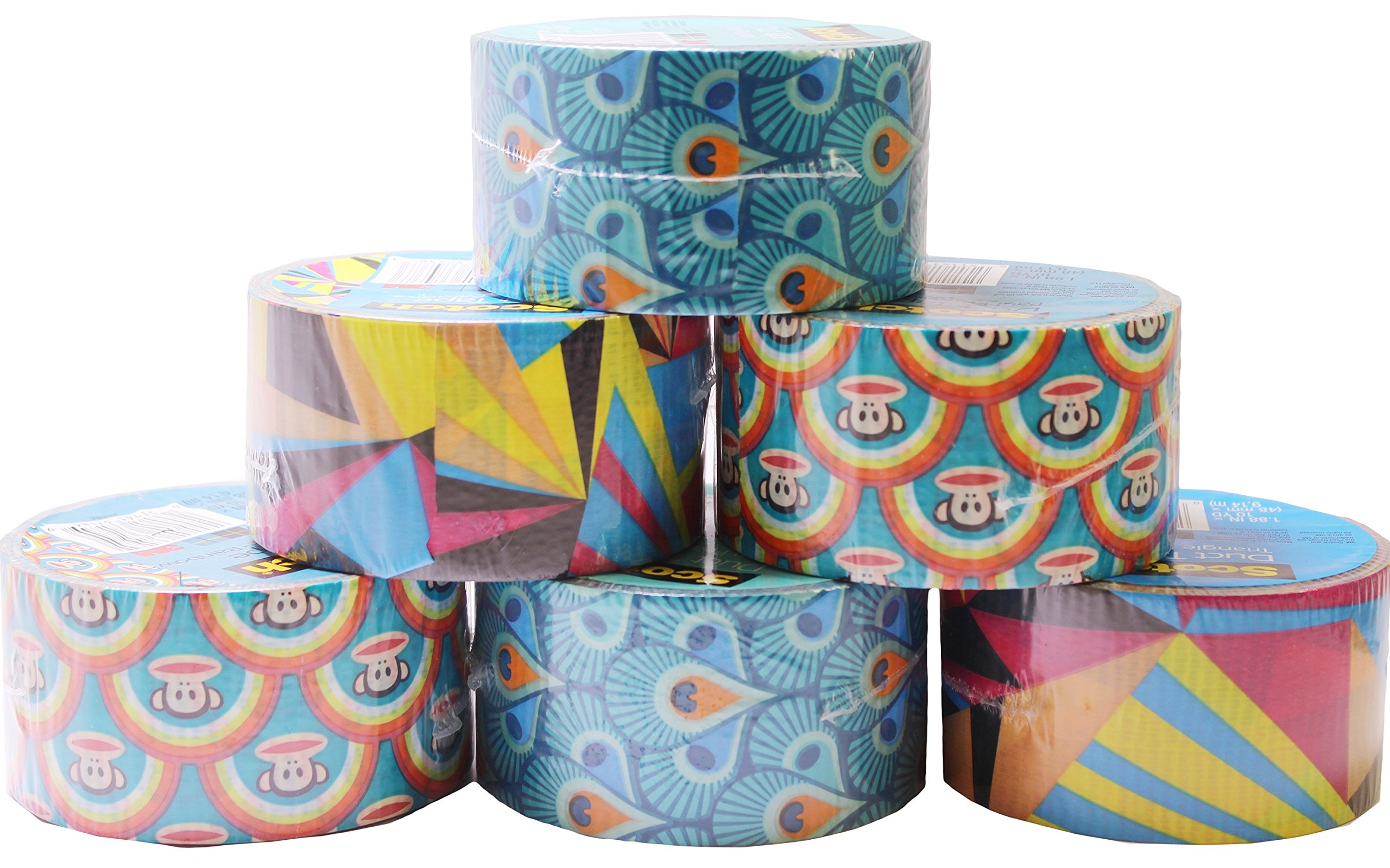 Scotch Duct Tape, Assorted Patterns, 2 of Each (Pack of 6 Rolls)