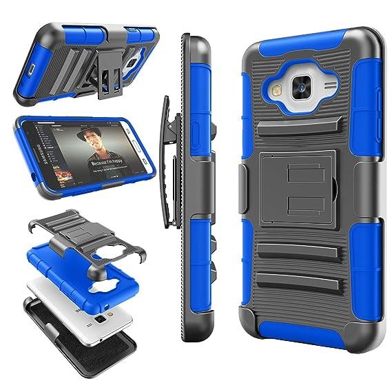 best loved 78a1c 6bb01 Galaxy Sky Case, J3 / J3 V Case, Galaxy Sol Case, Tekcoo [Hoplite Series]  [Blue] Shock Absorbing Holster Locking Belt Clip Defender Heavy Kickstand  ...
