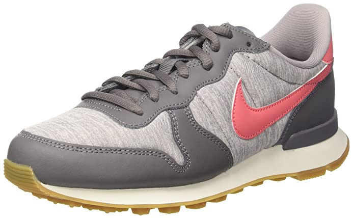 Nike Internationalist Sneakers Damen Grau mit Rosa Streifen (Korall)