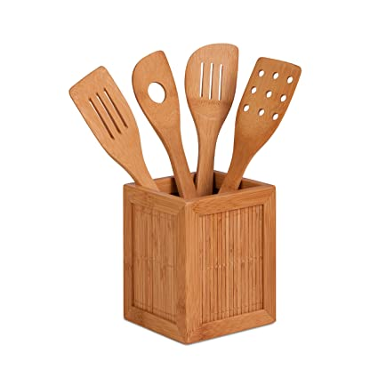 Honey Can Do KCH 01080 Bamboo Kitchen Utensil Caddy, 5 Piece