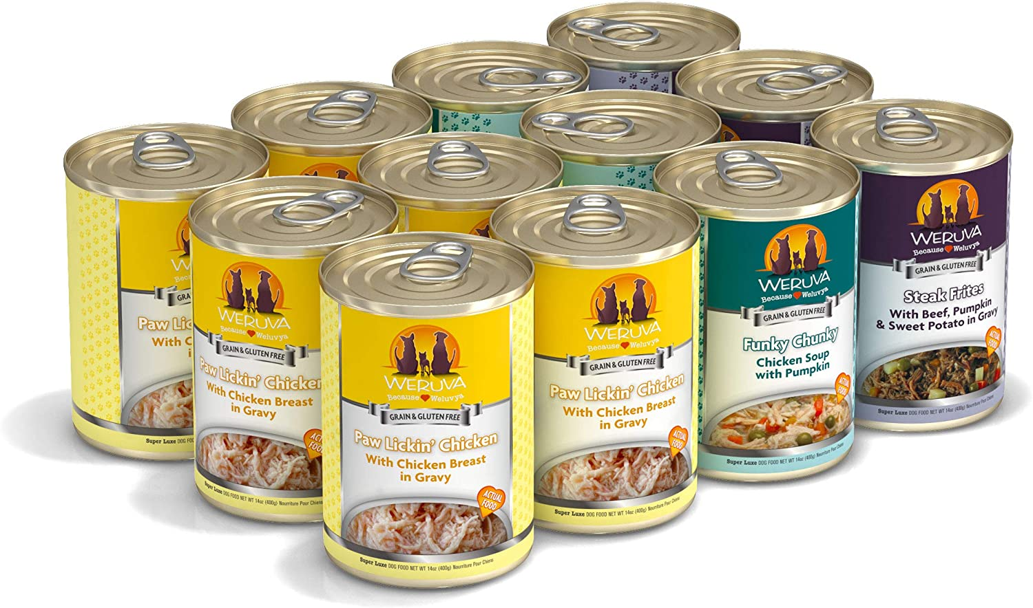 Weruva Classic Dog Food, No Ruff Days Variety Pack, 14oz Can (Pack of 12)